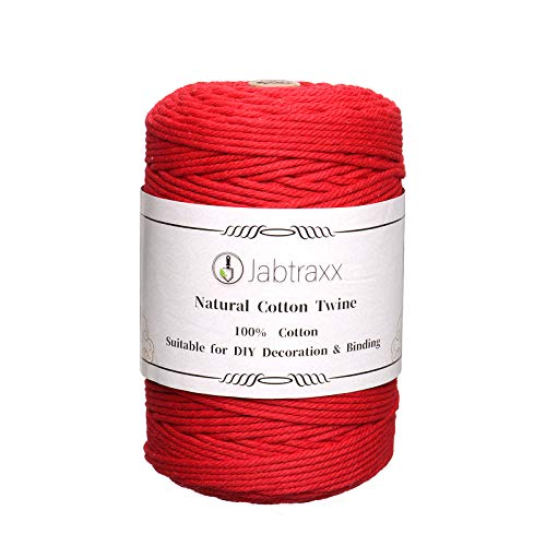 3 mm Macrame Yarn Cotton Cord Cotton Cord for Crafts, DIY, Crafts & Knitting, 110 m / 220 m (Scarlet)
