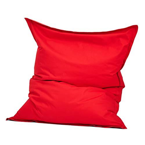 Green Bean © Square XXL Indoor Riesensitzsack aus Baumwolle 140x180 cm - 380 Liter EPS Perlen Füllung - waschbar, mit Innensack - Sitzkissen Bodenkissen Sitzsack für Kinder & Erwachsene - Rot