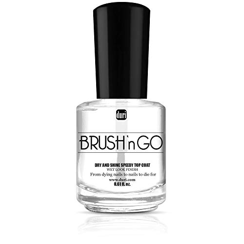 duri Brush'n GO Fast Dry and Shine Speedy Top Coat - Shiny Manicure, Protect Nails from Smudging, Hydrate, Nourish Cuticles, Non Chipping (0.61 fl.oz.)