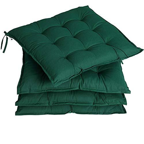 Detex 4er Set Stuhlkissen 41x41x5cm Bänder Viskoeffekt Indoor Outdoor Stuhlauflage Kissen Sitzkissen Auflage Polster Grün
