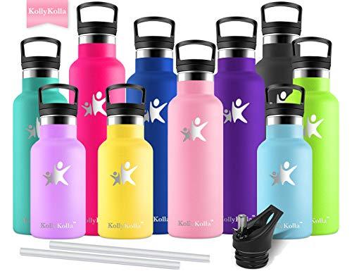 KollyKolla Trinkflasche Edelstahl 500ml Wasserflasche 0.5l Standardmund Isolierflasche mit Perfekte Thermosflasche für das Laufen, Fitness, Yoga, Im Freien und Camping | BPA FREI