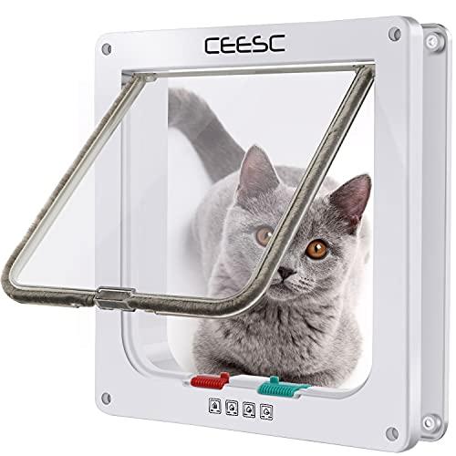 CEESC Gattaiola Porta Basculante per Gatti e Cani,Entrata e Uscita Controllabili, Facile da Installare Gattaiola per Gatti Grandi(Bianca, L)