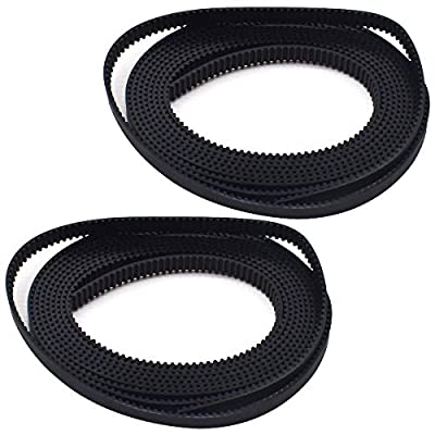 Timing Belt,RoadLoo 2Pcs Rubber Timing Belt 2mm Pitch 6mm Wide GT2 Timing Belt Wear-resistant Universal Open Timing Belt Tooth Surface for 3D Printer CNC Machine Accessories (2m)