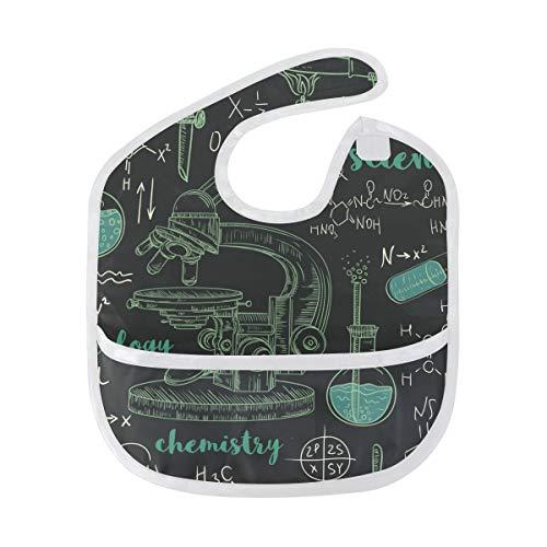 Ahomy wasserdichtes Baby-Lätzchen, Chemielabor, Mikroskop, verstellbare Vordertasche, Lätzchen für Jungen und Mädchen