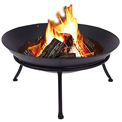 URBNLIVING Large D57 Cast Iron Fire Pit Bowl Basket on 3 Legged Metal Stand for Outdoor Garden BBQ Party Heating by EGT