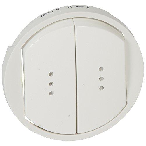 Enjoliveur Céliane pour double interrupteur, Va-et-Vient ou poussoir à voyant- Blanc - 068004 - Legrand