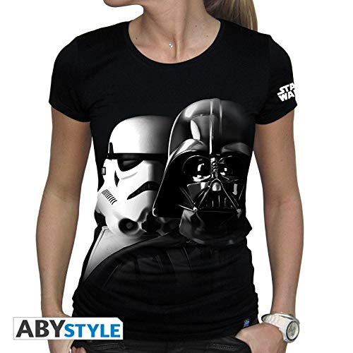 ABYstyle Abysse Corp_ABYTEX382 Star Wars-T-Shirt Vador-Troopers Woman Ss Black, Unisex Niño, Extra Pequeño, Mediano, Grande