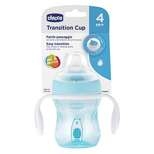 Chicco - Vaso de transición con boquilla flexible, color azul