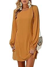 YOINS Femmes Mini Robes Été T-Shirt Demi Manches Robe De Fem