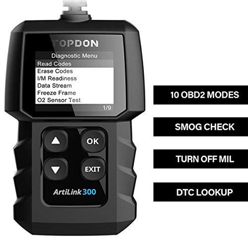 TOPDON AL300 OBD2 Auto Diagnostica Funzioni Complete OBDII Scanner Spegnere la Spia del Motore di Controllo Lettore di Codice Leggi Vin Dati in Tempo Reale Stato di prontezza I/M