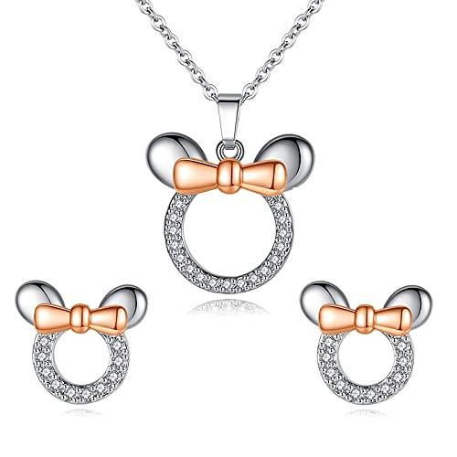 collar Moda Lindo Mickey Minnie Colgante Collares Conjuntos De Pendientes Para Mujeres Dibujos Animados Oro Rosa Y Circonita Dream Love Conjunto De Joyas
