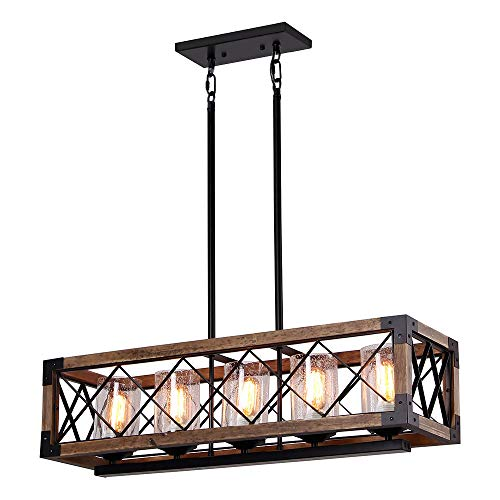 Giluta Rectangle Wood Metal Pendant Light Kitchen Island Chandelier Black Finish Rustic Industrial Chandelier Vintage Ceiling Light Fixture 5 Lights with Glass Shade (17810)