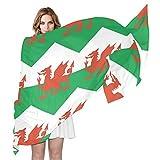 Pañuelo de seda para mujer, con bandera de Gales para mujer, 70 cm de largo x 89 cm de ancho