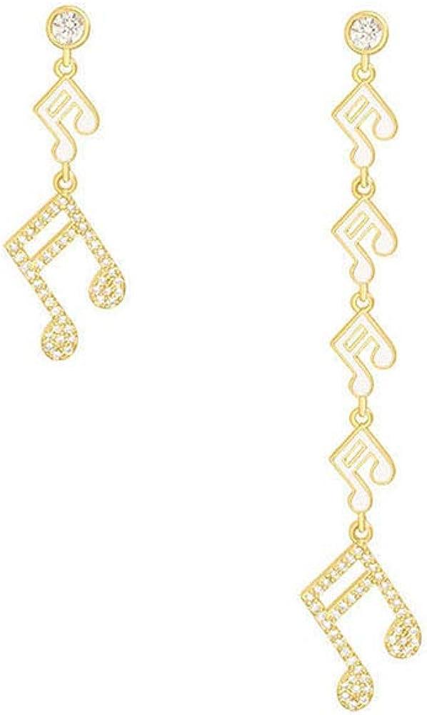 Seacity Crystal Drop Earrings for Ladies Women Girls,Music Note Asymmetrical Earrings Jewelry for Wedding Party Gift