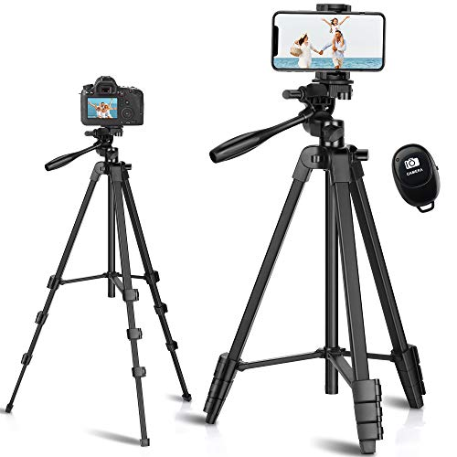 """Phone Tripod, Eocean 54"""" Extendable Tripod for Cellphone and Camera with Wireless Remote Control & Universal Phone Mount Holder, Compatible with iPhone 12 11 Pro Max/Galaxy Note 9/S9/Google Android"""