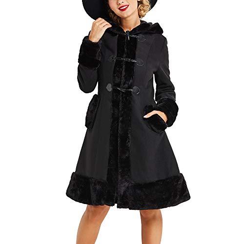 FRAUIT Gothic Damen Mit Kapuze Pelzkragen Mantel Pelzmantel der Königin Horn Button Winterjacke