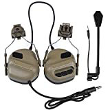 DETECH Tactical Helmet Headset Headphone Electronic Shooting Ear Protection Sound Amplification Noise Reduction Ear Muffs Hunting Shooting Ear Defender with Detachable Microphone