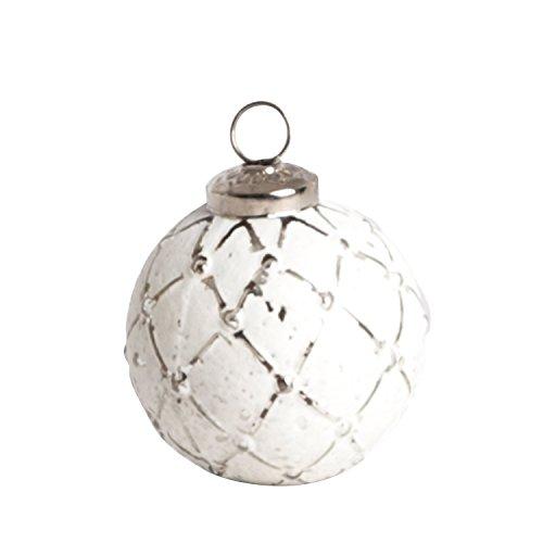 SARO LIFESTYLE XM216.S Glass Ball Ornament Set, 3-Inch, Silver, Round (Set of 4 pcs)