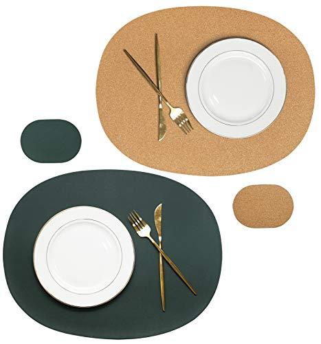 Olrla Doppelseitiges Tischset und Untersetzer aus ovalem Kork- und PU-Leder, 2 Tischsets und 2 Untersetzer für das Tischessen im Zuhause Restaurant (tiefgrün + Kork)