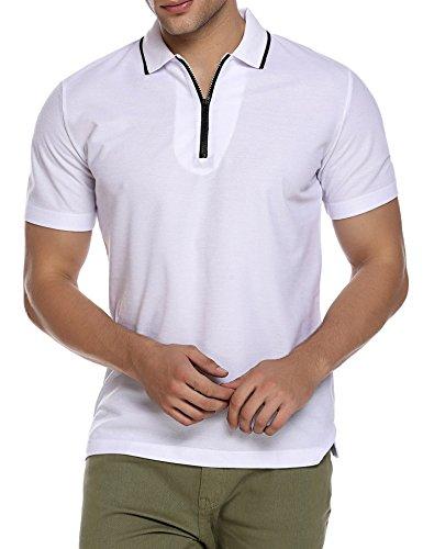 Burlady Herren Poloshirt Kurzarm Stehkragen Freizeitshirt Reißverschlussausschnitt Sommer Leicht Modisch Polohemd Fashion Einfarbig Gentleman