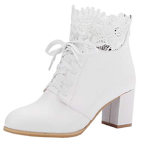 LUXMAX Damen Schnür Ankle Boots mit Blockabsatz Spitze High Heels Stiefeletten mit Blockabsatz Hochzeit Braut Schuhe(Weiß 38)