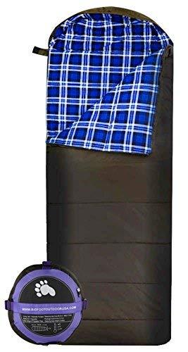 Bigfoot Outdoor Lumberjack Water Resistant Sleeping Bag - Free Stuff Sack (Blue Flannel, 250g/m2 Insulation)