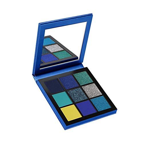 Tefamore Paleta de Sombra de Ojos 9 Colores de Polvos Cosméticos En Maquillaje Conjunto de Mate y Sombra de Ojos con Brillo Perlado (Azul)