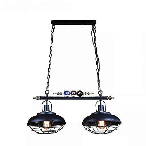 Candelabros de decoración de billar,2 luces de araña de luz colgante con cubierta de red de hierro sala de billar,accesorios de iluminación de techo de hierro forjado E27 luz de suspensión