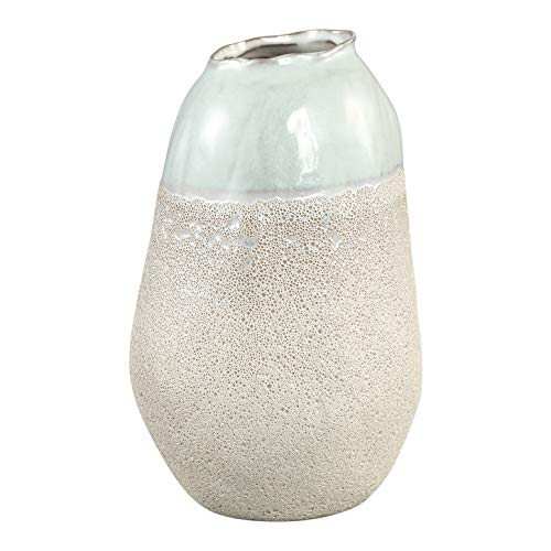 PTMD decoratieve vaas TAFT White Ceramic Pot Round High M met glanzende afwerking en spons-look - Afmetingen: 25.0 x 14.0 x 14.0 cm