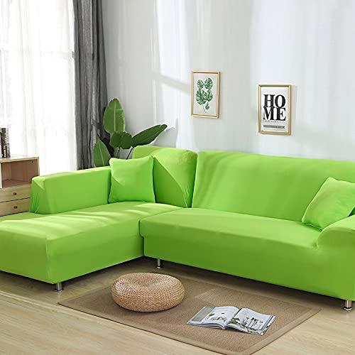 WXQY Toalla para sofá de Sala de Estar, Funda de sofá Antideslizante de Color sólido, Esquina elástica en Forma de L, Funda de sofá con Todo Incluido, A7, 4 plazas