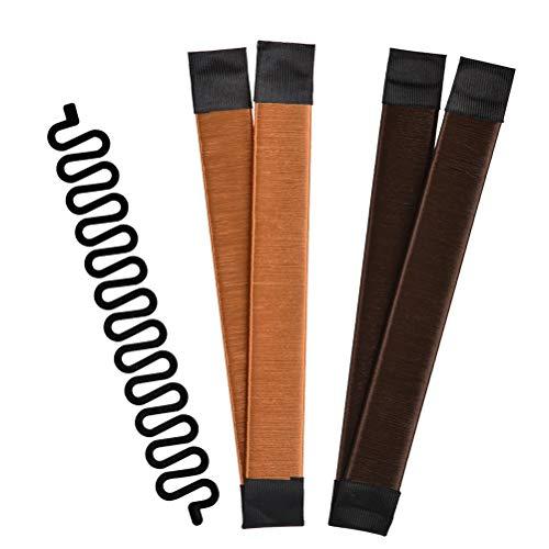 Twist Haarstyling Tool 3-in-1 Haarstyle Hilfe, Donut Hair Bun Maker Damen Haare Dutt Maker braun + Flechthilfe Haare Haar Flechten Tool