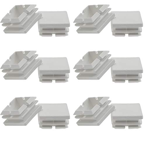Suiwotin 12Pack 25mm (1 Inch) Square White Plastic Plug, Square Tubing End Caps, Tubing Post End Cap for Square Tubing/White Plastic Square Plugs (White)