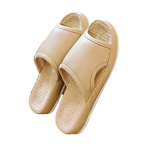 Pantuflas transpirables antideslizantes para el hogar,desodorante y pantuflas de lino para pies que no huelen Zapatillas para Ducha Antideslizante Zapatos,Beige,37-38