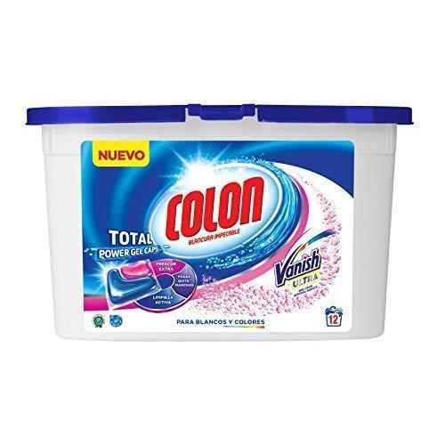 Colon Total Power Gel Caps Vanish - Detergente para Lavadora con agentes quitamanchas, Formato Cápsulas - 12 dosis