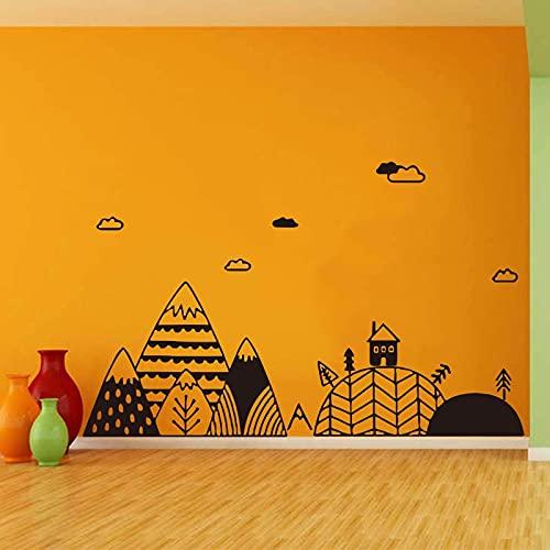 Adhesivo de pared Nordic Mountain Tree Cloud Village calcomanía póster tema infantil papel tapiz decoración familiar pegatina de pared A5 26x86cm