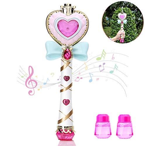 Máquina de pompas de jabón, Bubble Machine Varita mágical de pompas de jabón Juguete con luz Musical para niños niñas, con 2 pompas de jabón líquido, Juguetes para Exterior Bubble Toys