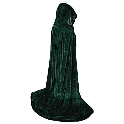 BIGXIAN Full Length Hooded Velvet Cloak Halloween Christmas Fancy Cape Costumes 59' Green