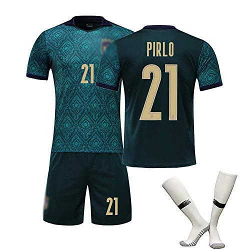 # 3 Maldini # 21 Pirlo # 1 Buffon Fußball Trikot T-Shirt Set Heimatgericht Trainings uniform Kinder Herren italienische Auswärtsspiel Sportswear-Top Hemd Dark Green(#21)-XXL