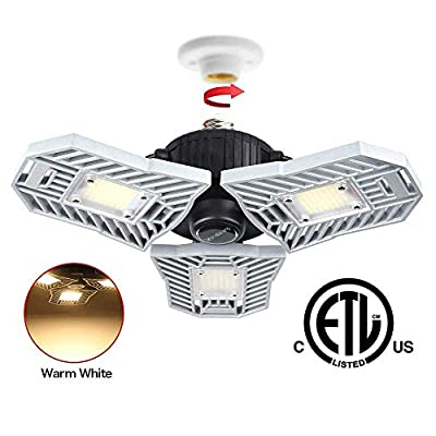 Tanbaby Basement Lights 3000k Garage Lights Deformable Garage Light Warm LED Garage Lighting LED Shop Light 6000LM, Shop Lights, Garage Lights Ceiling LED Warm, Tribright Garage Light (60W Warm Light)