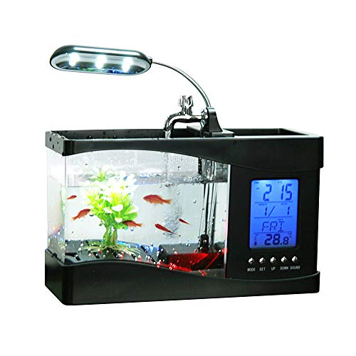 Docooler USB Desktop Mini Fish/small fry Tank Aquarium with LED Clock