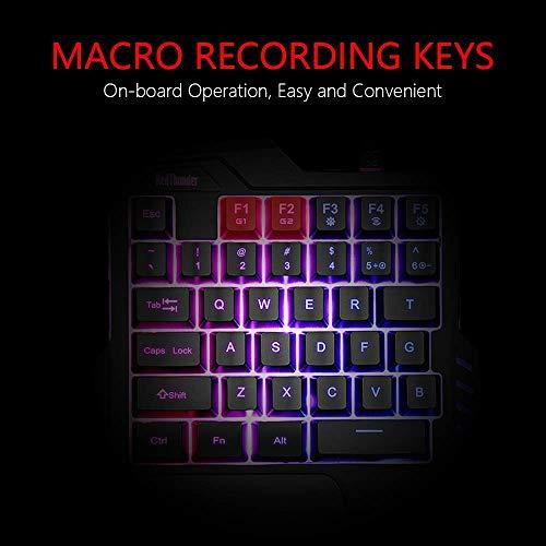 RedThunder One Handed Gaming Keyboard RGB Backlit 35 Keys Portable Mini Gaming Keypad Ergonomic Game Controller for PC Gamer