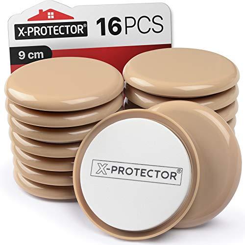 Möbelgleiter für Teppich X-PROTECTOR - Bewegliche Pads 16 Stück 9 cm Gleiter für Möbel - Bewegen Sie Ihre Möbel einfach mit wiederverwendbaren Möbelgleitern für Teppiche!