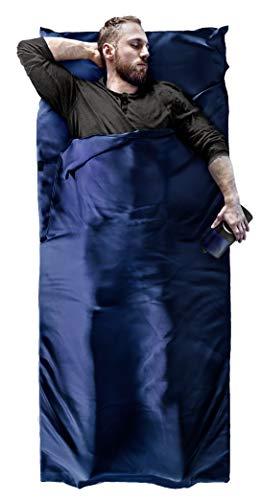 BeMaxx Hüttenschlafsack Microfaser Sommerschlafsack Outdoor + Kissen-Fach – Mikrofaser Reiseschlafsack | Dünn, leicht, klein, kompakt für Reisen | Schlafsack Inlay Inlett für Damen Herren Kinder