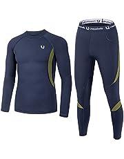 UNIQUEBELLA Suit Esquí Térmica Ropa Interior Térmica Manga Larga Camiseta + Térmica Pantalones Largos, Deportes de Invierno, Conjuntos térmicos para Hombre