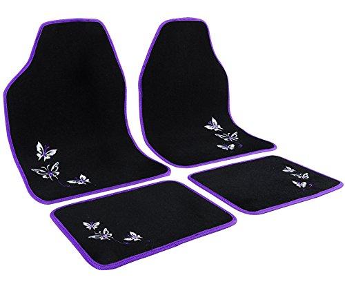 WOLTU Universal Auto Fußmatten Teppich Stickerei Butterfly Lila/Schwarz AM7140