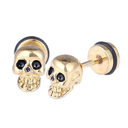 Piercing falso dilatador dorado, diseño de calavera, pequeño, ojos negros, cierre de acero inoxidable