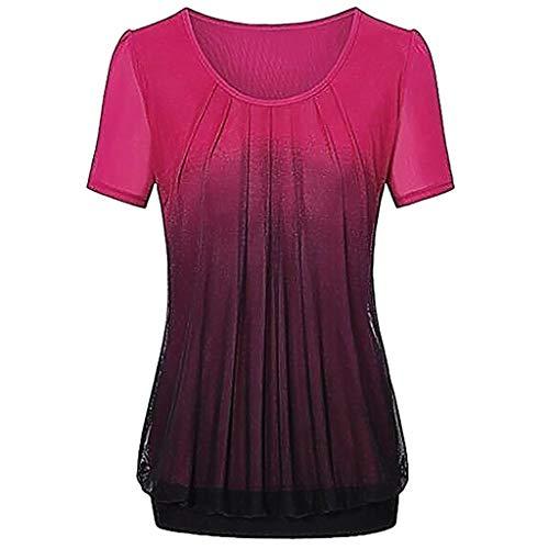 NPRADLA 2019 Damen beiläufige Steigung gedruckt Plissee Plus Größe Stammes T Shirt Tops Bluse(Rot-2,L)