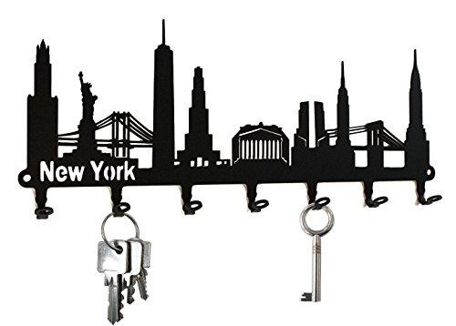 steelprint.de Schlüsselbrett/Hakenleiste * Skyline New York * - Schlüsselboard USA, Schlüsselleiste, Metall - 7 Haken