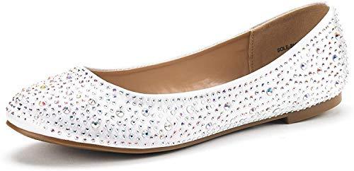 DREAM PAIRS Women's Sole-Shine White Rhinestone Ballet Flats Shoes - 6.5 M US