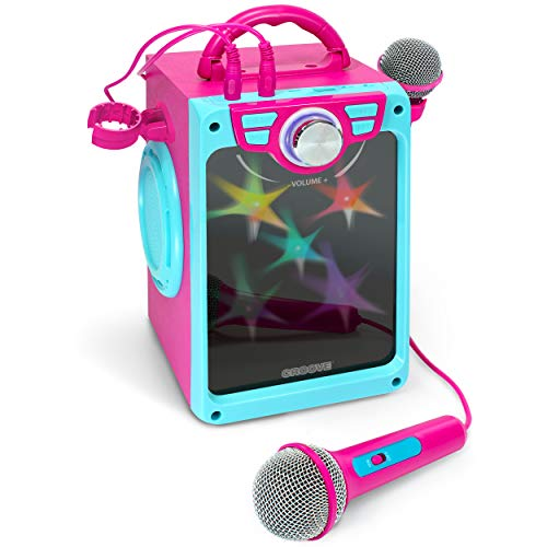 Croove POP Box Karaoke Machine for Kids with 2 Microphones and Flashing Disco Lights (Pink)
